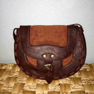 Roxy brown embroidered cross body bag